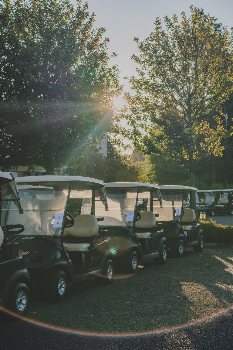 Golf buggies at The Duke's