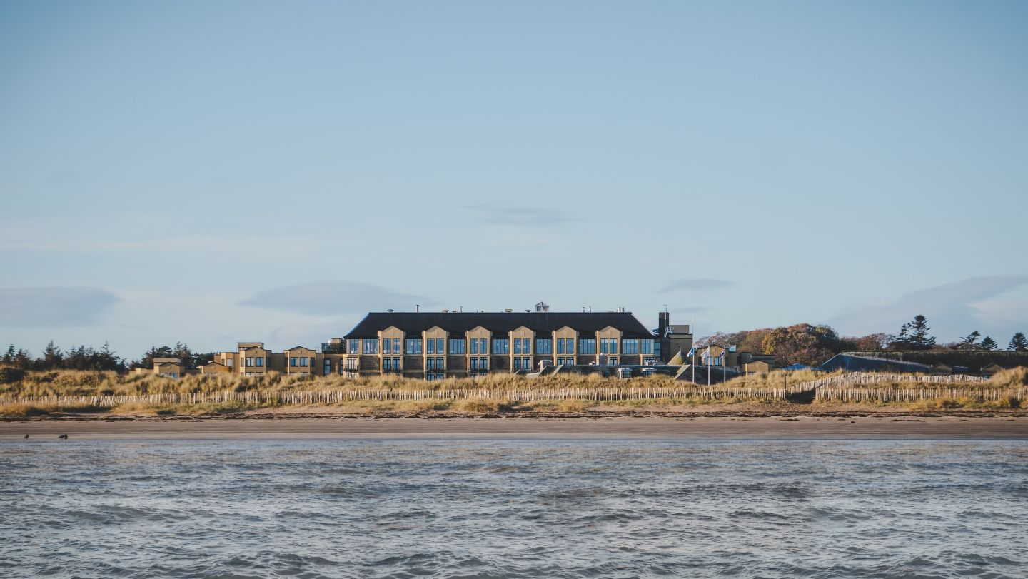 View from West Sands Beach looking out towards Old Course Hotel, Golf Resort & Spa