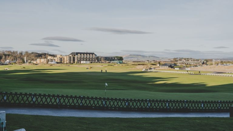 Looking over the 18th Green of the famous Old Course Golf Course towards the Old Course Hotel, Golf Resort & Spa