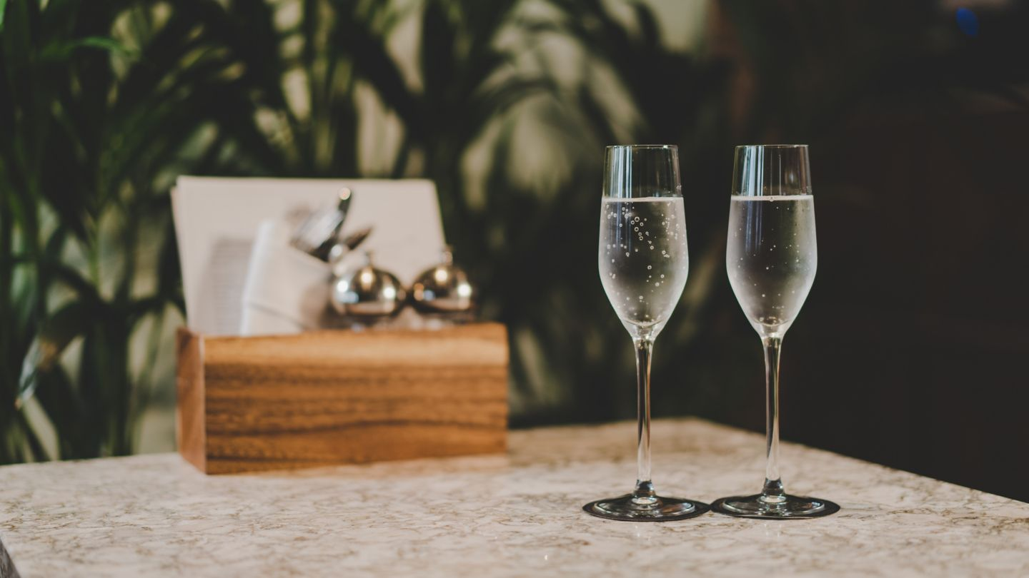 Two glasses of fizz at Kohler Waters Spa, St Andrews