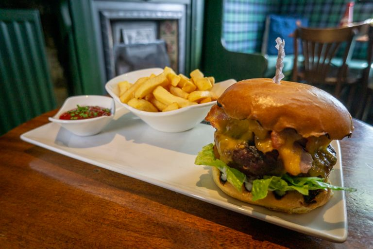 Cheese and bacon beef burger at the Jigger Inn