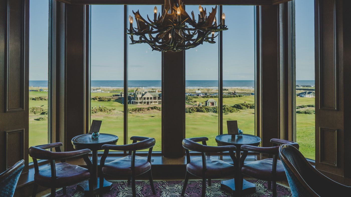 View from the Road Hole Bar in the Old Course Hotel, Golf Resort & Spa in St Andrews