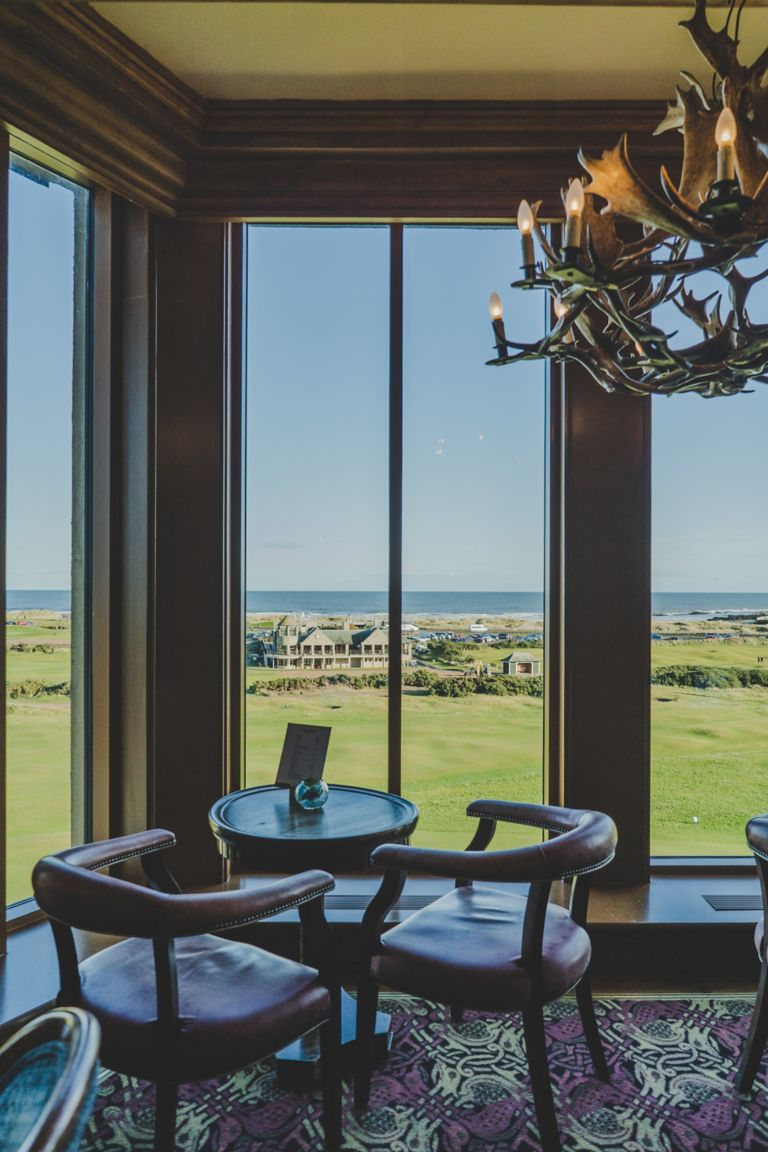 View of the Links Clubhouse from the Road Hole Bar in the Old Course Hotel, Golf Resort & Spa