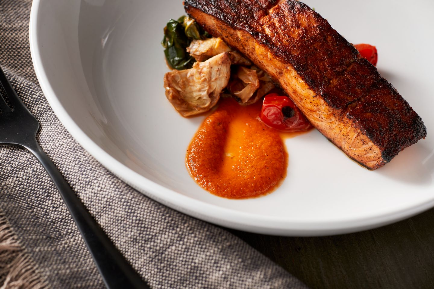 A salmon dish from The Horse & Plow