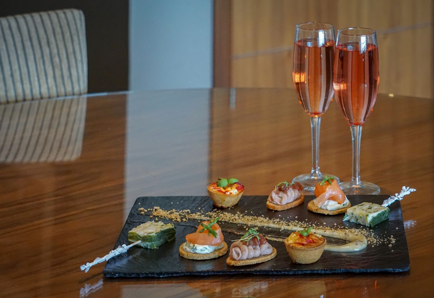In room amenities , champagne and canapes
