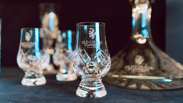 Branded Old Course Hotel whisky glasses from The Lone Piper