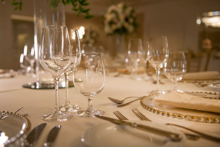 Wedding tableware in the grand Ballroom of the Old Course Hotel, Golf Resort & Spa