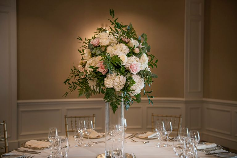 Close up of rose floral arrangement in the grand Ballroom of the Old Course Hotel, Golf Resort & Spa