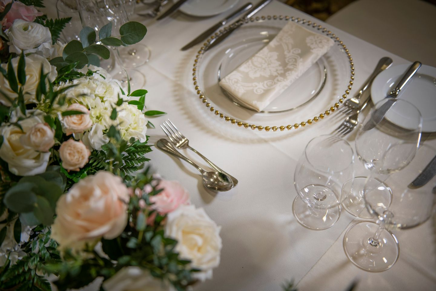 Wedding tableware in the Conservatory of the Old Course Hotel, Golf Resort & Spa