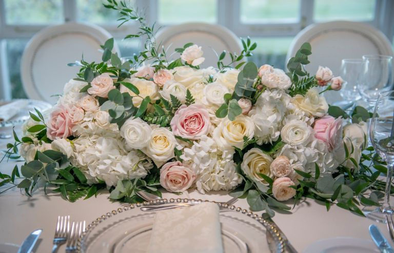 Close up of rose floral arrangement in the Conservatory of the Old Course Hotel, Golf Resort & Spa