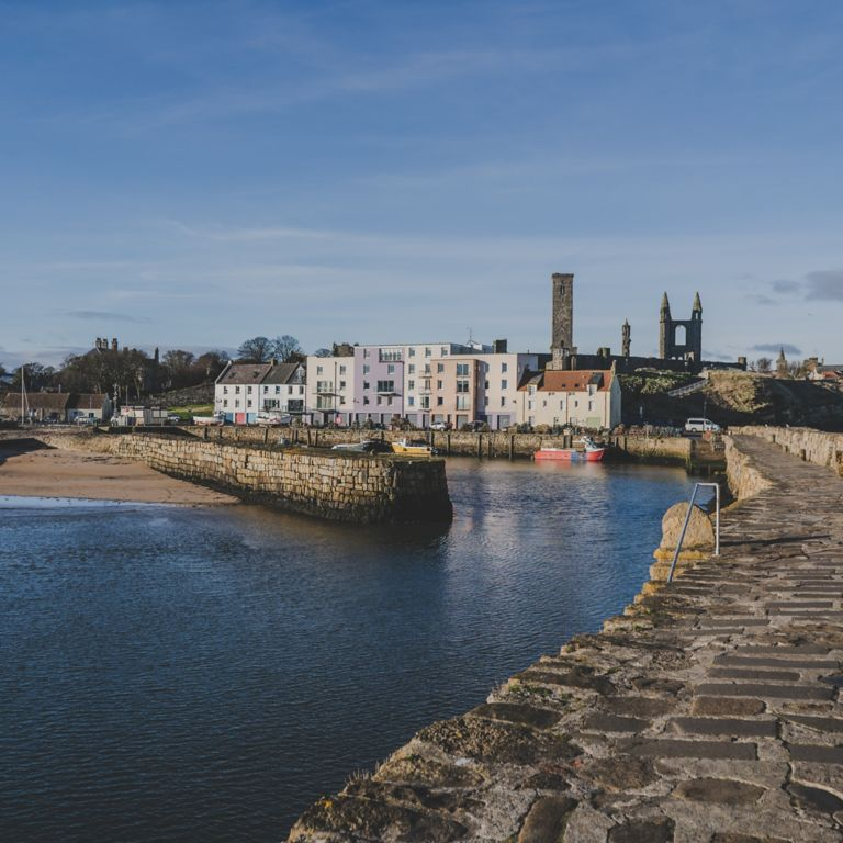 East Sands docking area in St Andrews with the Cathedral in the background.
