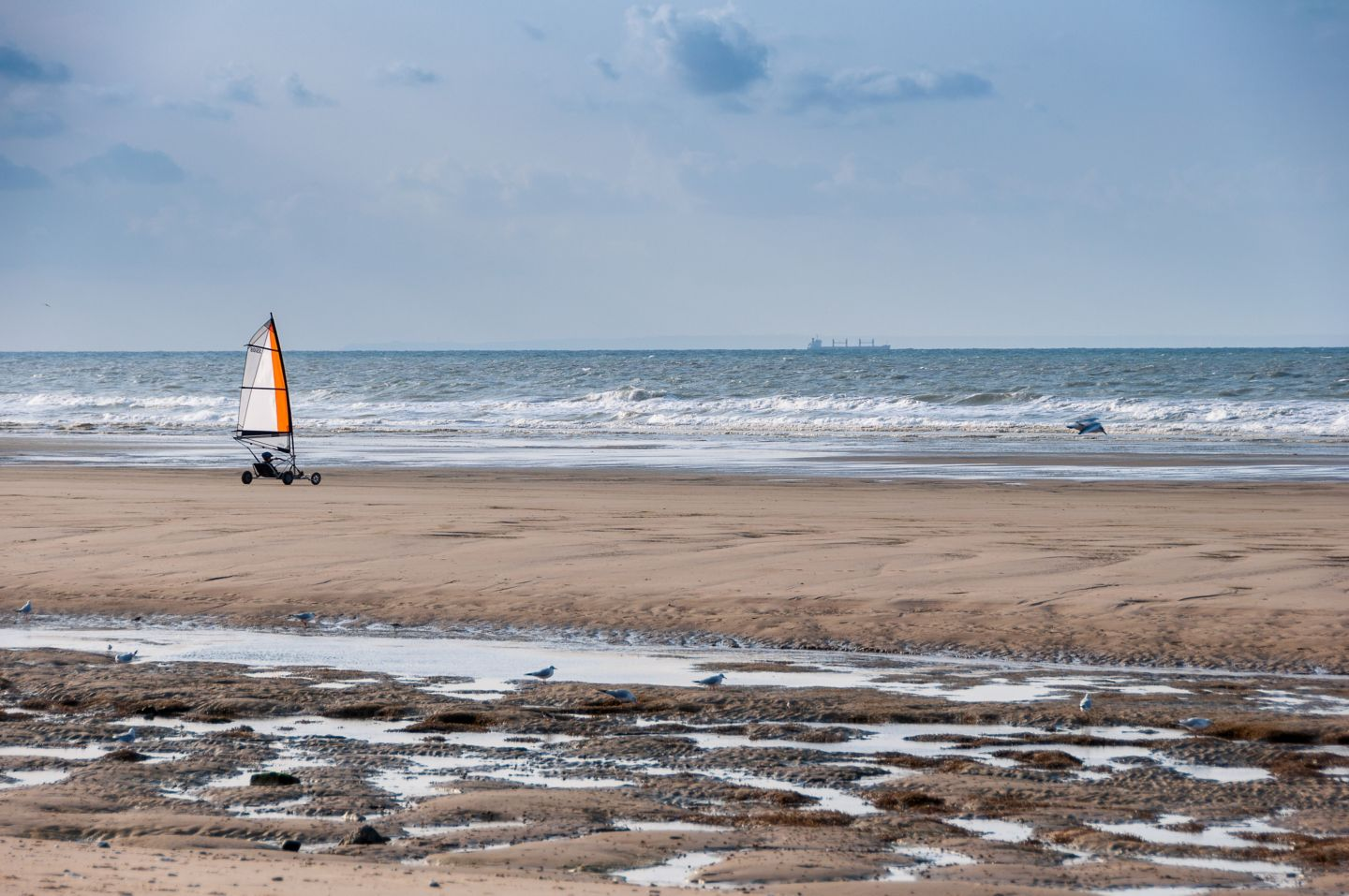 Land yachting on West Sands beach