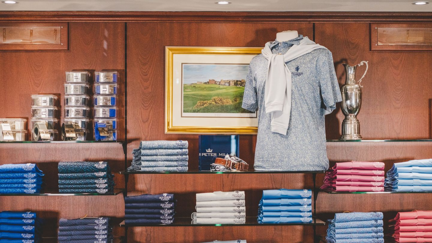 Old Course golf shirts in The Pro Shop