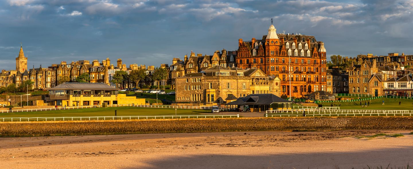 View of Hamilton Grand in St Andrews from West Sands Beach