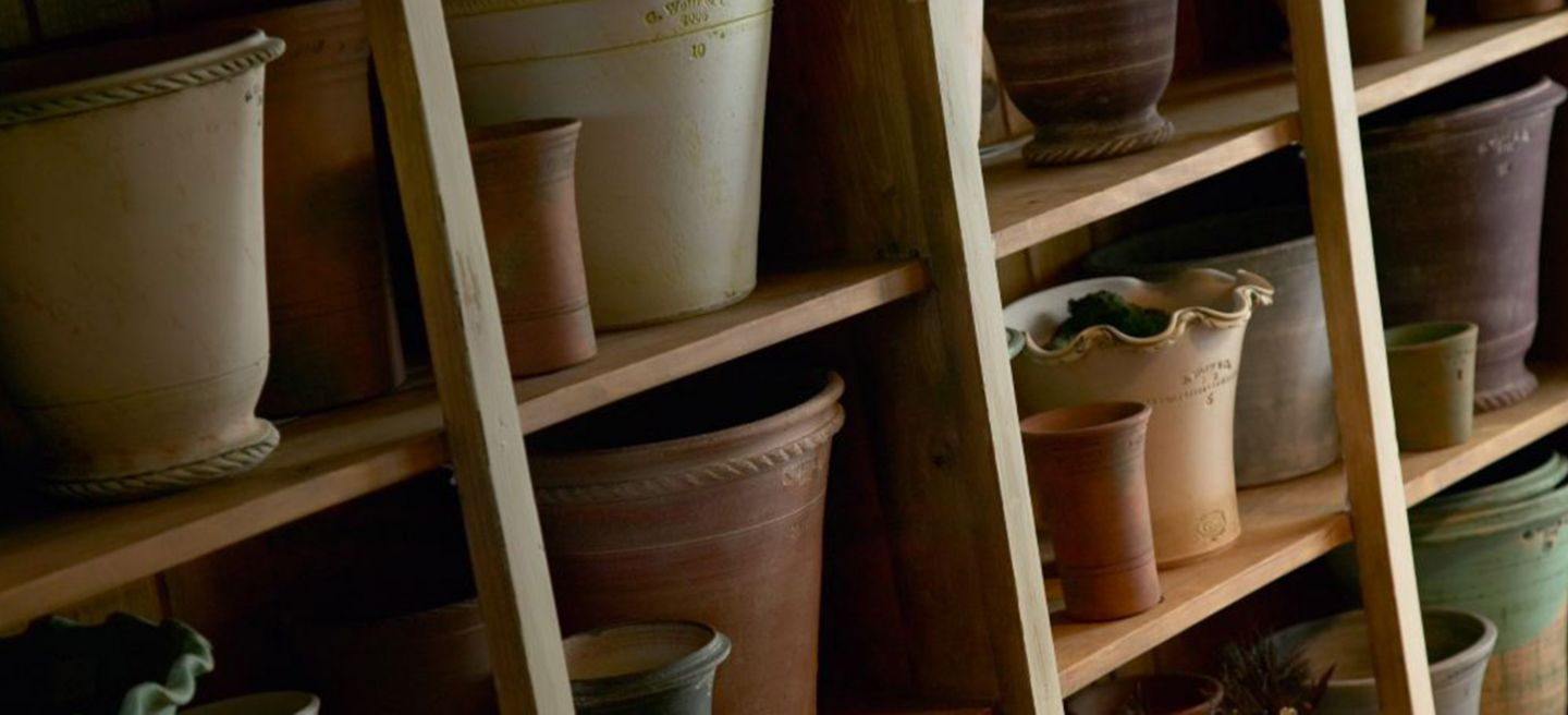 Pottery on a shelf