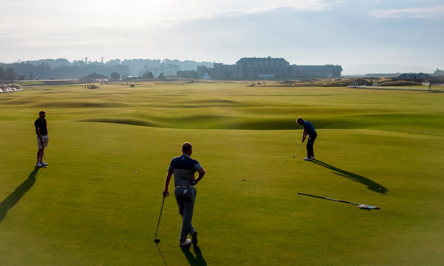Golfers playing the Old Course, St Andrews