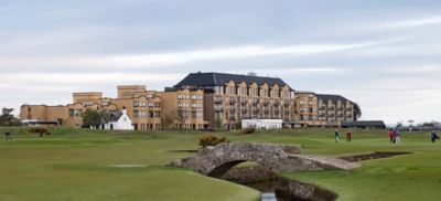 The Swilken Bridge in front of the Old Course Hotel, Golf Resort & Spa, St Andrews