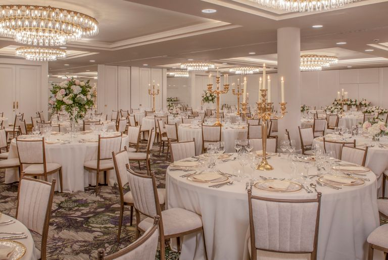 Wedding ceremony setup in the Hall of Champions of the Old Course Hotel, Golf Resort & Spa