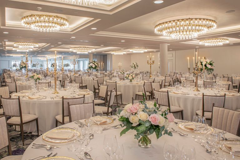 Wedding reception setup in the Hall of Champions of the Old Course Hotel, Golf Resort & Spa