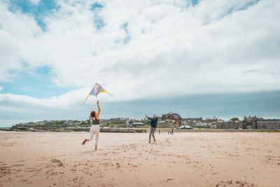 Flying a kite on West Sands Beach St Andrews