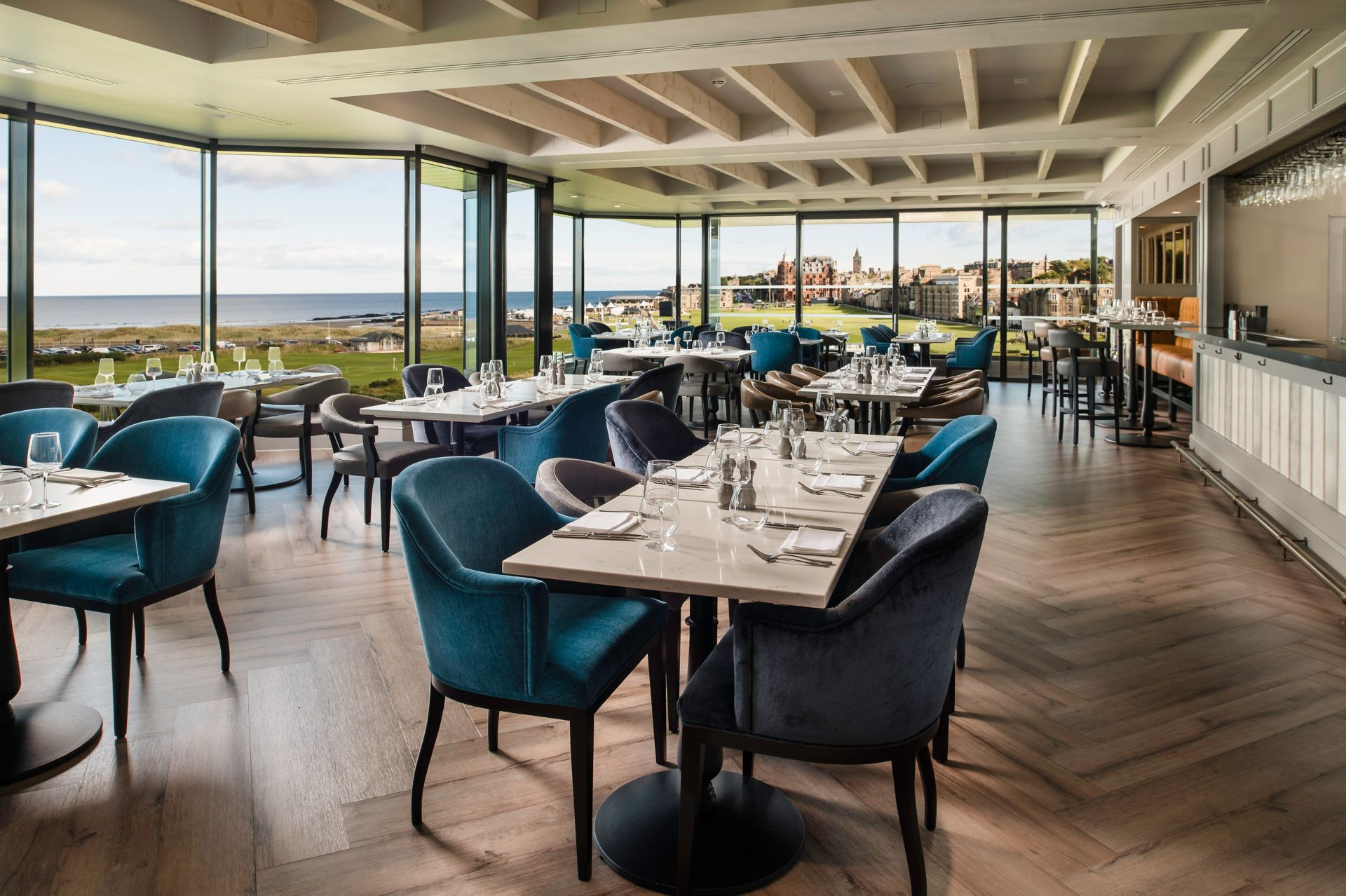 Inside the Swilcan Loft Restaurant with a view of St Andrews