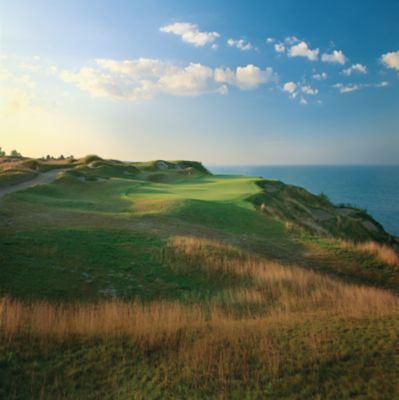 A view of the green of hole 12 on the Straits Course at Whistling Straits.