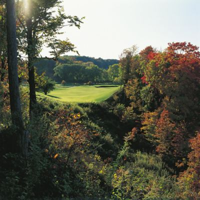 The fariway of hole 8 of the River Course with sunlight and trees with fall color.