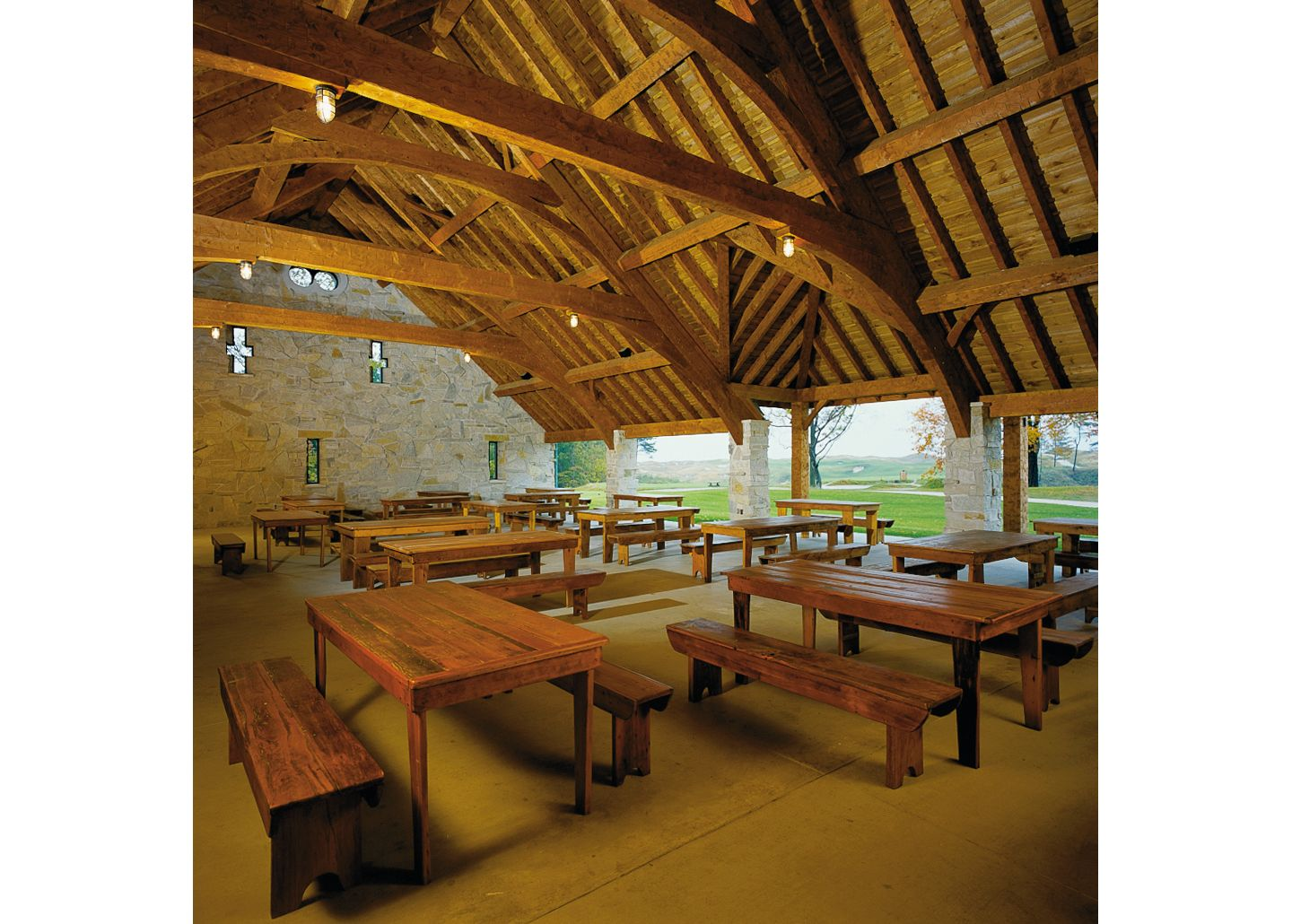 Tables in the Irish Barn without place settings.