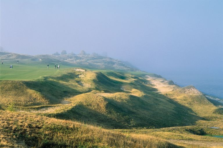 The green of hole 13 at the Straits Course on Whistling Straits.