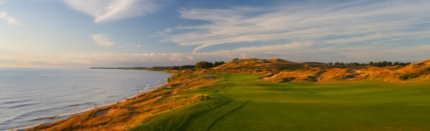 The green of hole 4 of the Straits Course at Whistling Straits.