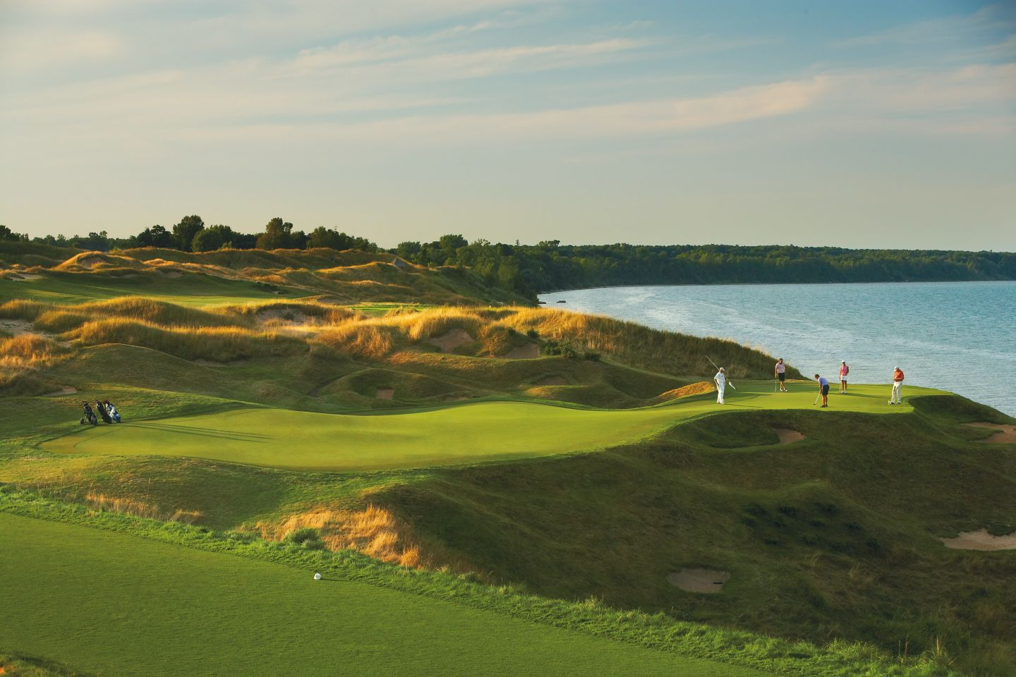 Golfers on the green at Whistling Straits
