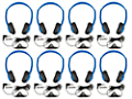 Multipurpose Headphones with Volume Control - Set of 8