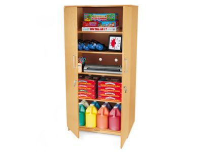 classic birch locking storage cabinet at lakeshore learning
