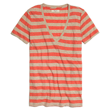Slub V-Neck Tee in Stripe