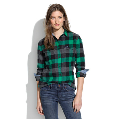 Penfield chatham buffalo plaid flannel shirt sale for Womens green checked shirt