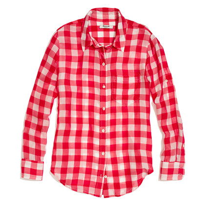 The gallery for red gingham shirt women for Pink gingham shirt ladies