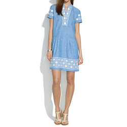 Chambray Sunstitch Tunic Dress