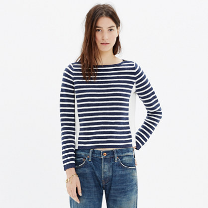 Shoulder-Zip Stripe Sweater