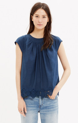 Eyelet-Hem Stitched Peasant Top