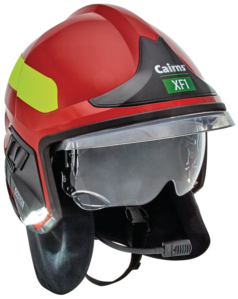 Red MSA XF1 Fire Helmet