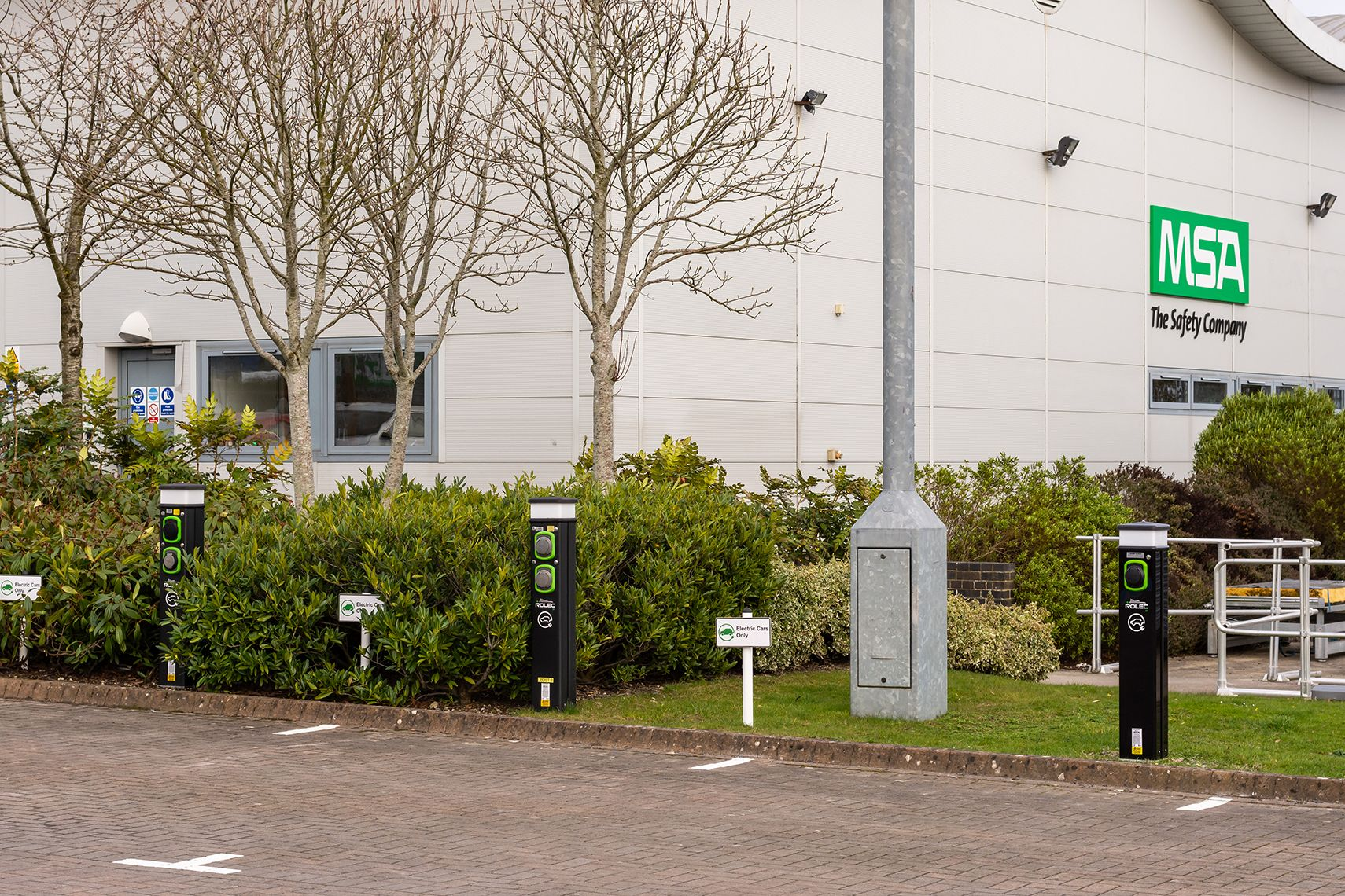 Car charging stations at MSA Devizes, UK