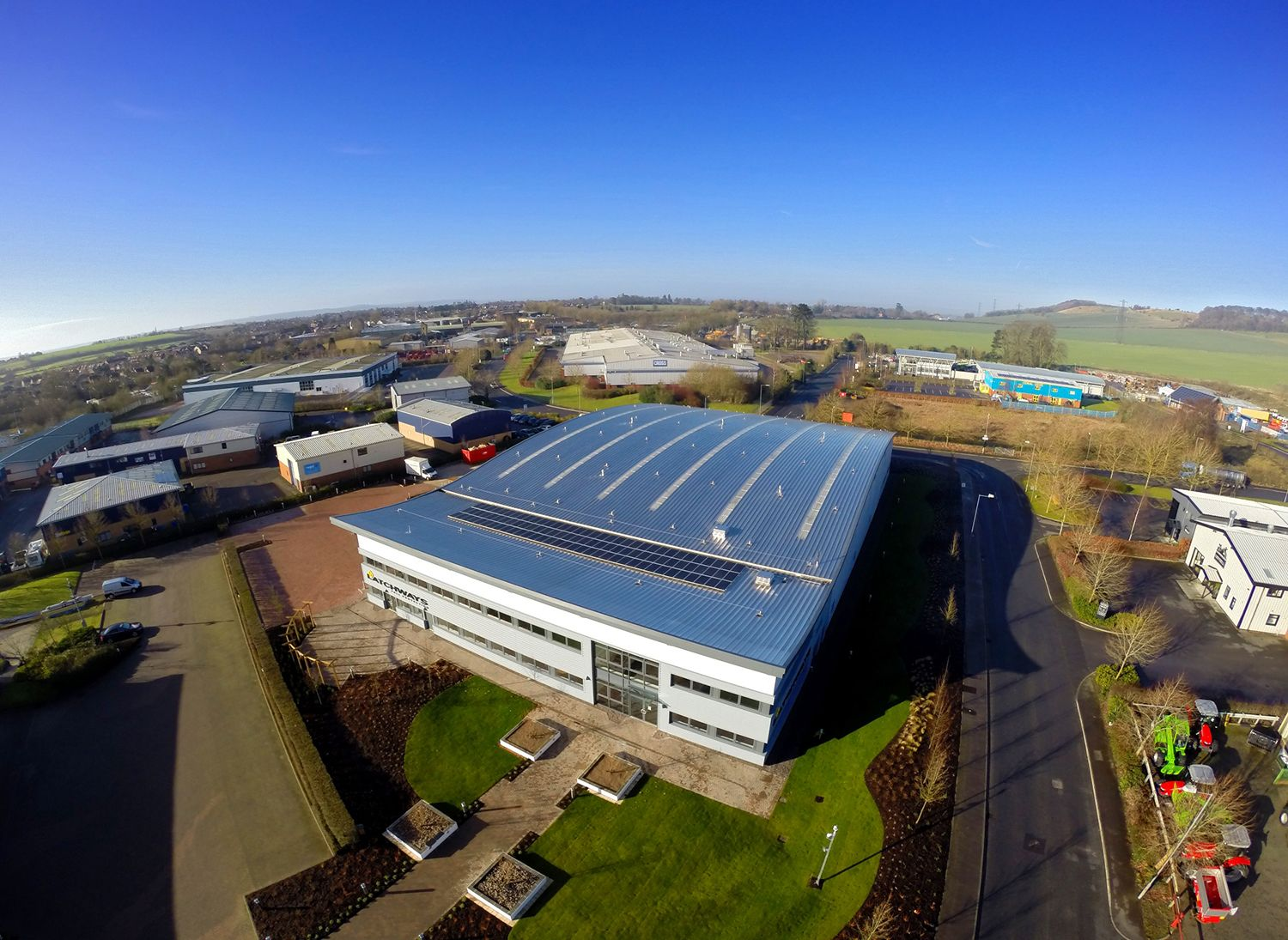 The MSA Devizes facility with solar panels, as seen from overhead