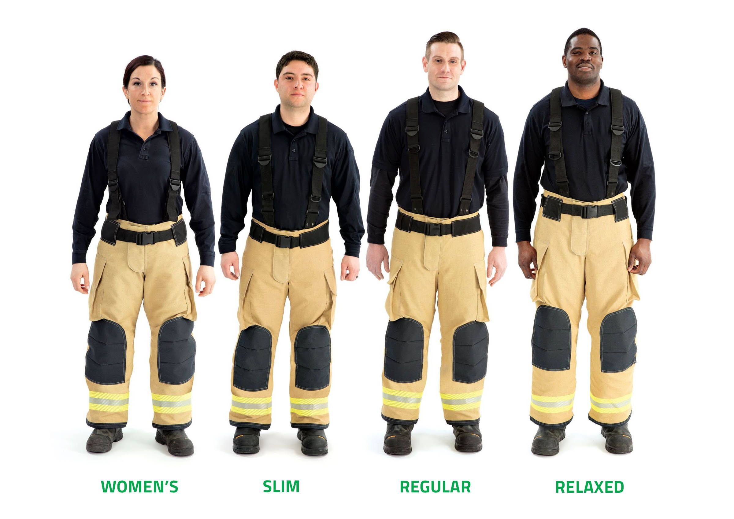 Firefighters stand in a line wearing different Globe Pant fits