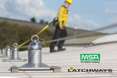 MSA Latchways Constant Force Fall Protection Engineered Lifeline System on rooftop