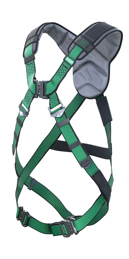 An angled view of the MSA V-FORM+ fall protection harness