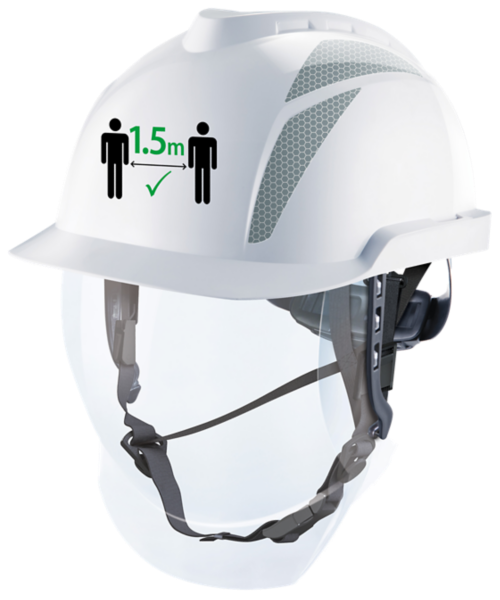 White MSA hard hat with custom logo on the front