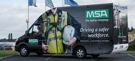 MSA branded fall protection demonstration vehicle offering mobile working at height training and product trials.