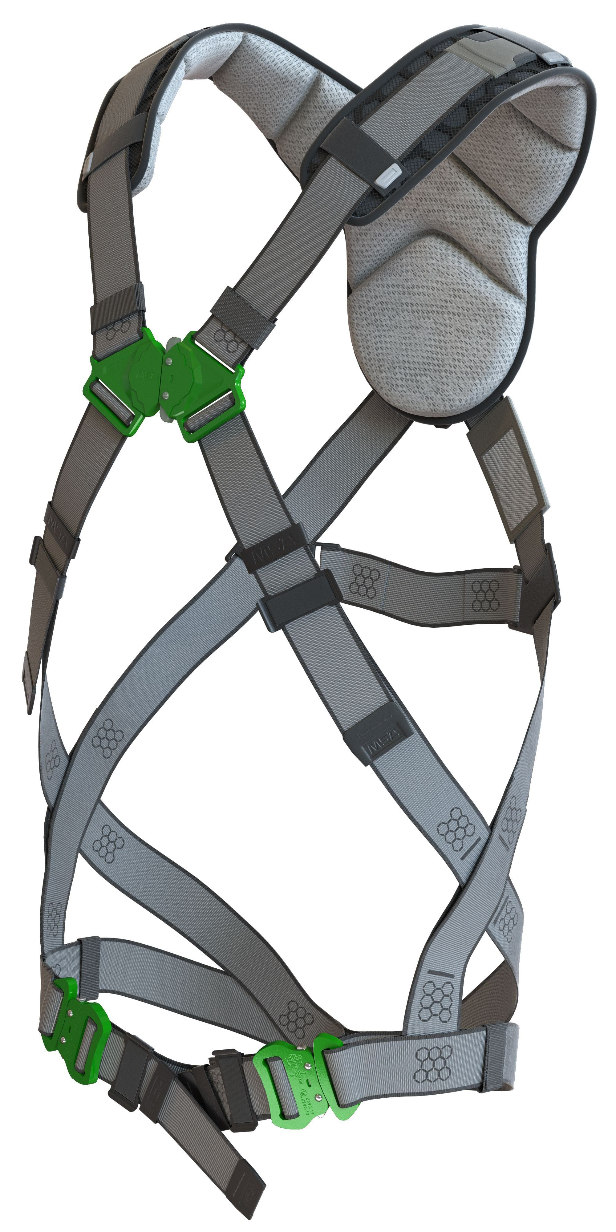 An angled view of the MSA V-FIT fall protection harness