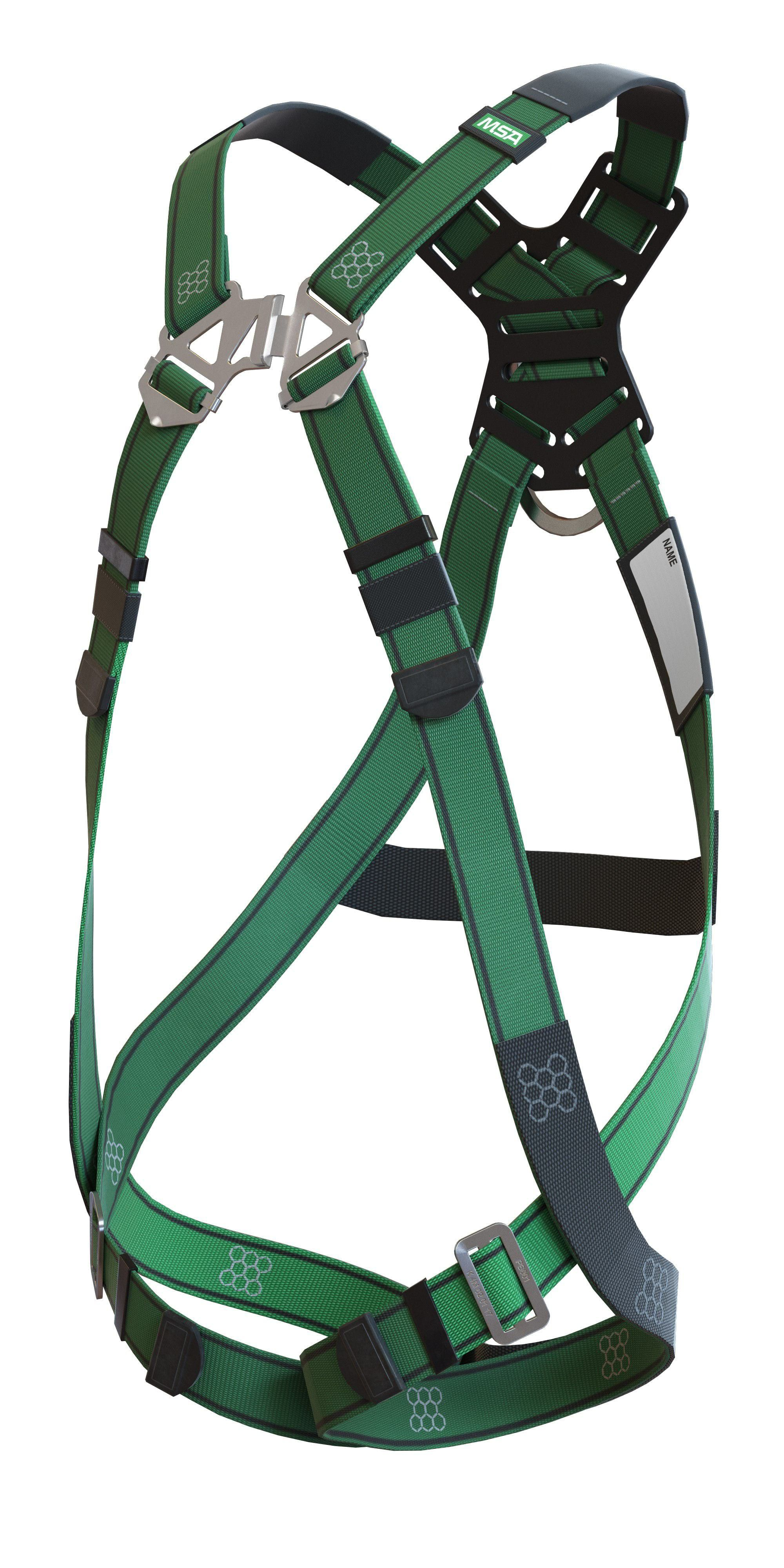 An angled view of the MSA V-FORM fall protection harness
