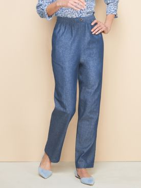 Cotton Tab-Front Straight Leg Pull-On Denim Jeans